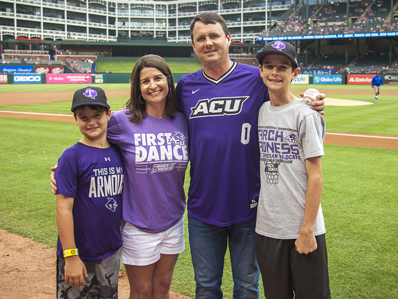 (From left) Chase, Amanda, Joe and Cason Golding before dad's big night at the Texas Rangers' game