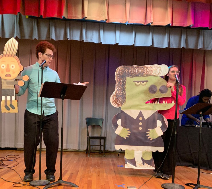 "Griffin Jones (left) and Zula Pryor rehearse for ""My Teacher is a Monster"" at the 2019 Children's Art and Literacy Festival."