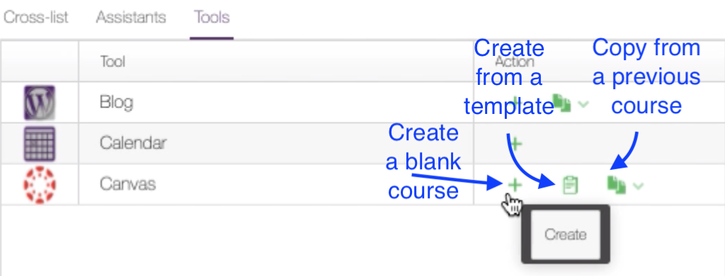 Screenshot that shows how to create a course in MyACU