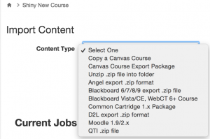 "Choose ""copy a Canvas course"""