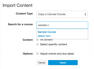 Start typing the name or course ID for the course you'd like to copy from.