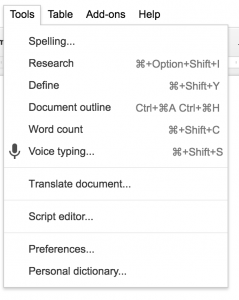 Google Docs Voice Dictation
