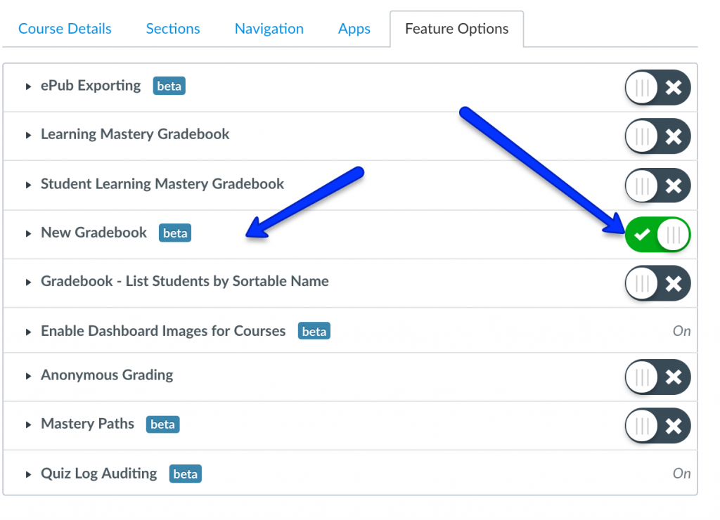 Turn on new gradebook feature