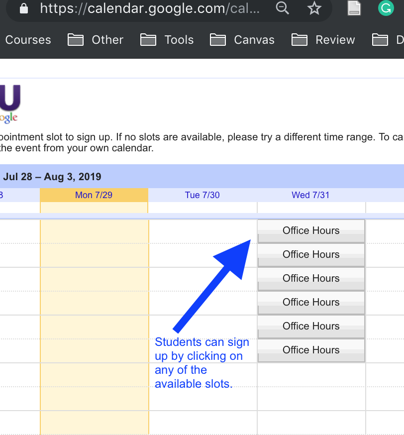 Screenshot shows how students can sign up for an appointment