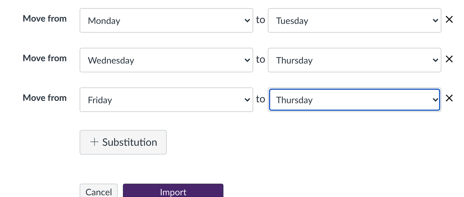 screen showing substitution of mondays to tuesdays, and Wednesday and Fridays to Thursdays