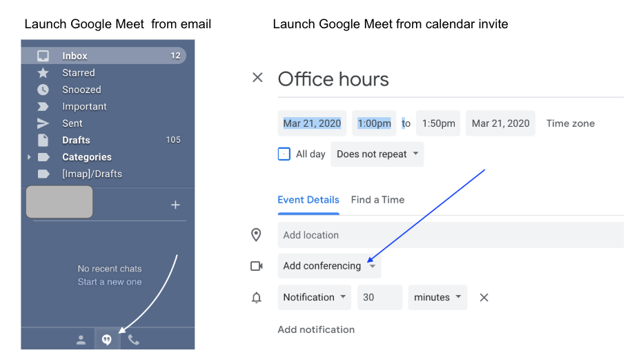 Google meet launch from email or calendar