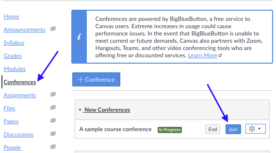 Screenshot that shows how to join conference in Canvas