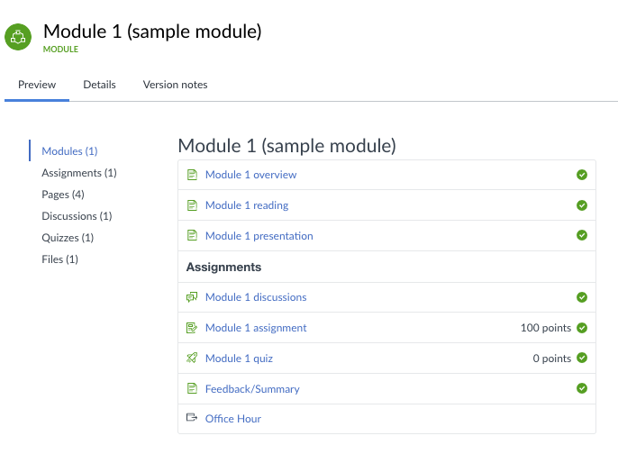 Screenshot for sample module