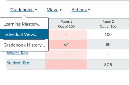 Screenshowing individual view of gradebook