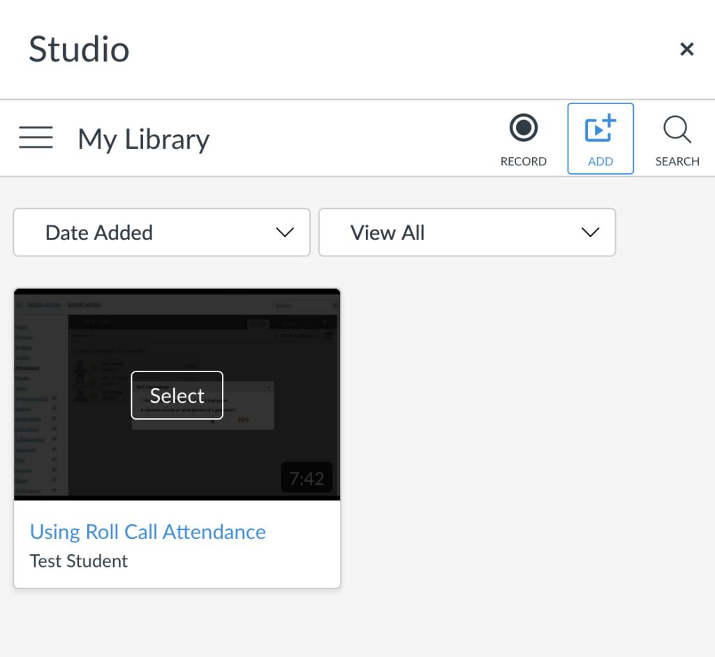 Screenshot for link to Studio