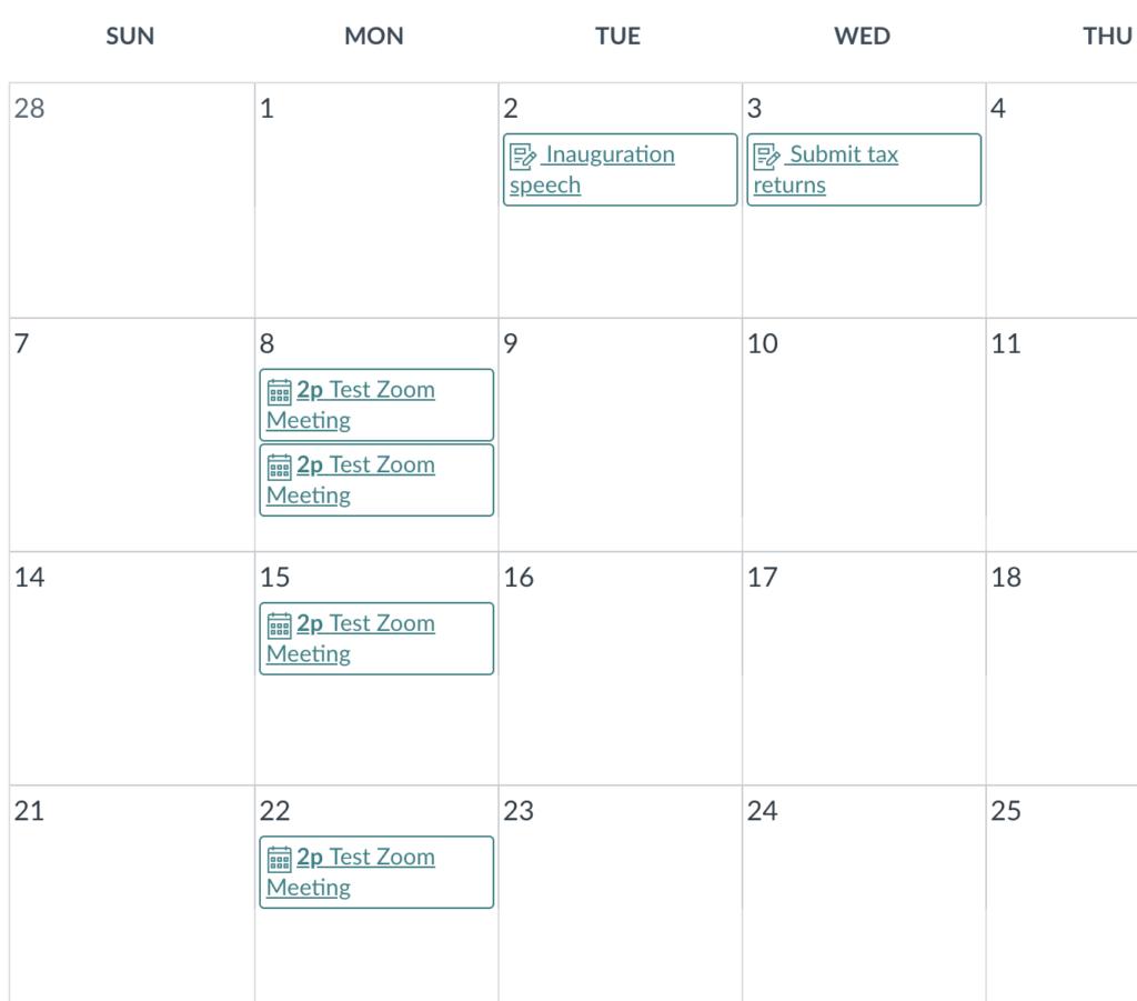 Zoom link in Canvas Calendar