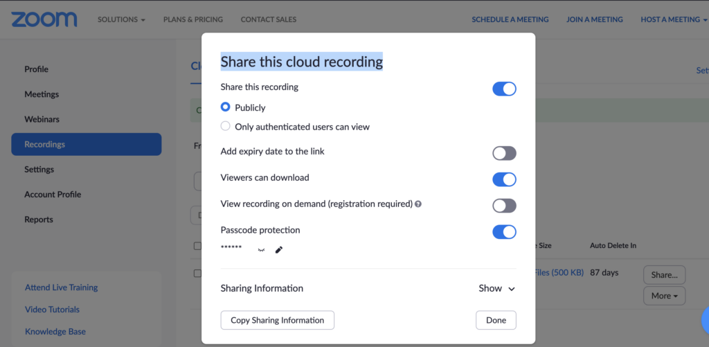 Screenshot that shows sharing options for Zoom recordings