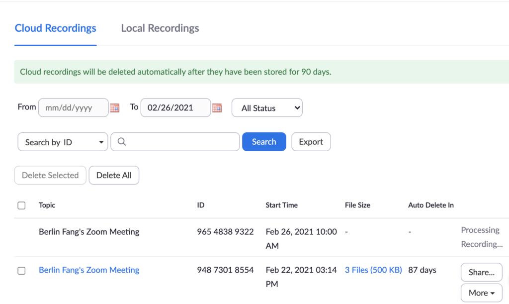Screenshot that shows two zoom recording links