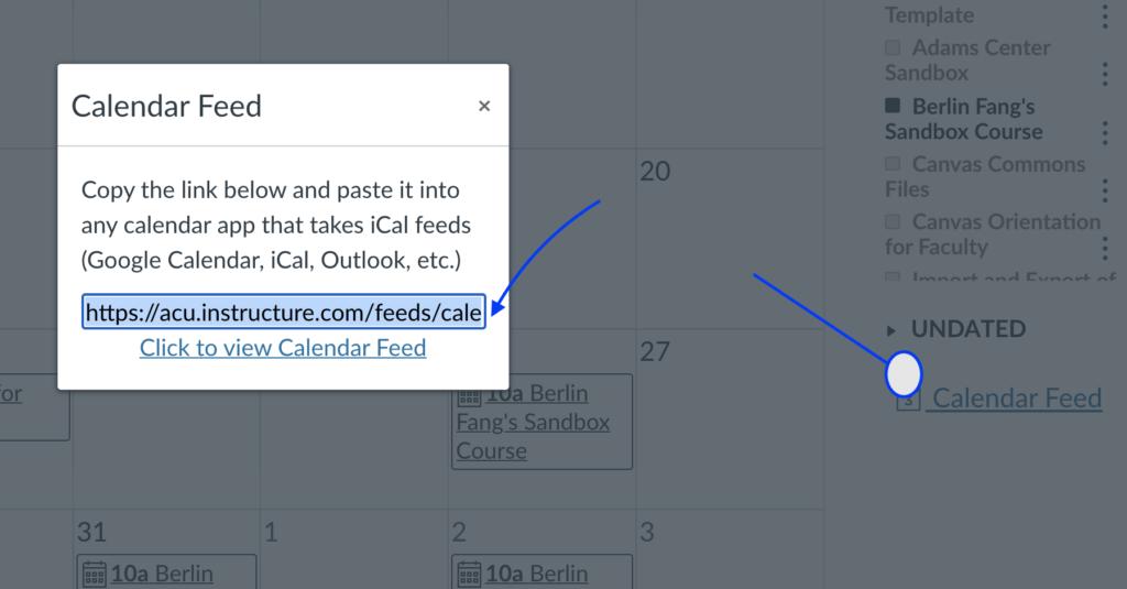 3. Get Canvas Calendar Feed
