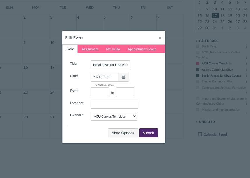 screenshot that shows the initial view of a calendar window