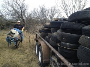Trailer full of tires pulled from Cedar Creek.
