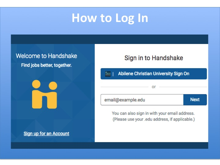 Logging In to Handshake
