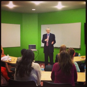Earl Young addresses ACU students.