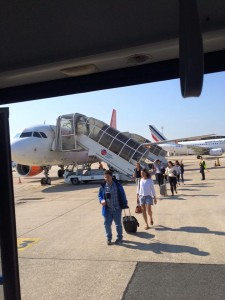 students board plane