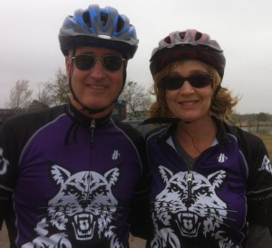 Mark and Laura repping the purple and white