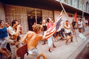 ACU alum David Leeson photographs several protesters during the 1984 Republican National Convention