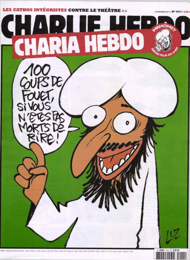 "In 2011, the magazine published an article ""guest edited by Mohammed,"" calling him ""Charia Hebdo."" On the cover, a grinning, bearded figure promised ""100 lashes if you don't die of laughter."""