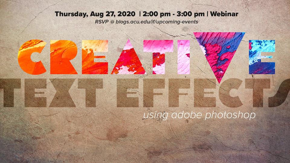 Adobe Webinar: Creative Text Effects using Adobe Photoshop