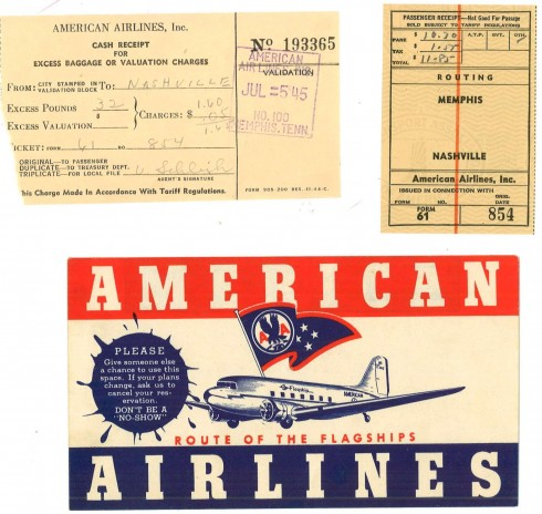 Presumably J.R.'s ticket home, it's dated 1945 and includes the ticket from Memphis to Nashville, ticket sleeve, and excess baggage receipt. Ephemera, John Ridley Stroop Collection, Milliken Special Collections, Abilene Christian University, Abilene, TX.