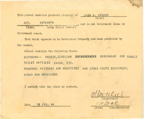 This document, dated 1946, lists the personal items sent to J.R. upon his return from the war.  Document, John Ridley Stroop Collection, Milliken Special Collections, Abilene Christian University, Abilene, TX.