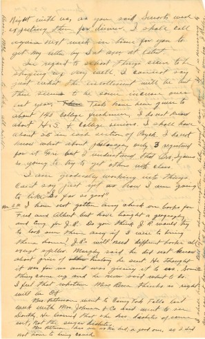 Letter from J. Ridley to Zelma in 1936, page two.  Manuscript letter, John Ridley Stroop Collection, Milliken Special Collections, Abilene Christian University, Abilene, TX.