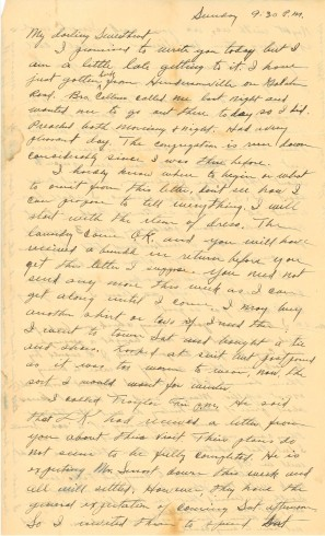 Letter from J. Ridley to Zelma in 1936, page one.  Manuscript letter, John Ridley Stroop Collection, Milliken Special Collections, Abilene Christian University, Abilene, TX.