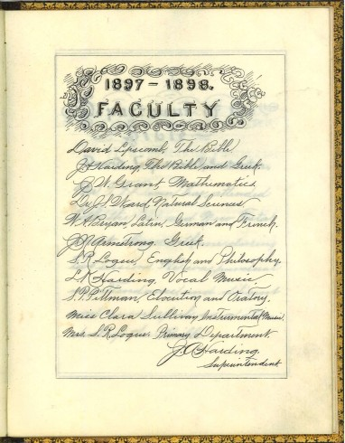 1897-1898 Faculty. T. F. Dunn Nashville Bible School Diploma, 1898. Diploma, John Ridley Stroop Collection, Milliken Special Collections, Abilene Christian University, Abilene, TX.