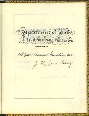 Department of Greek, signed by J. N. Armstrong. T. F. Dunn Nashville Bible School Diploma, 1898. Diploma, John Ridley Stroop Collection, Milliken Special Collections, Abilene Christian University, Abilene, TX.