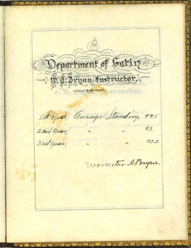 Department of Latin, signed by Worcester A. Bryan. T. F. Dunn Nashville Bible School Diploma, 1898. Diploma, John Ridley Stroop Collection, Milliken Special Collections, Abilene Christian University, Abilene, TX.