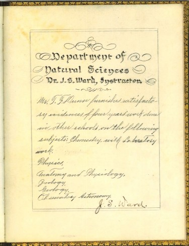Department of Natural Sciences, signed by J. S. Ward. T. F. Dunn Nashville Bible School Diploma, 1898. Diploma, John Ridley Stroop Collection, Milliken Special Collections, Abilene Christian University, Abilene, TX.