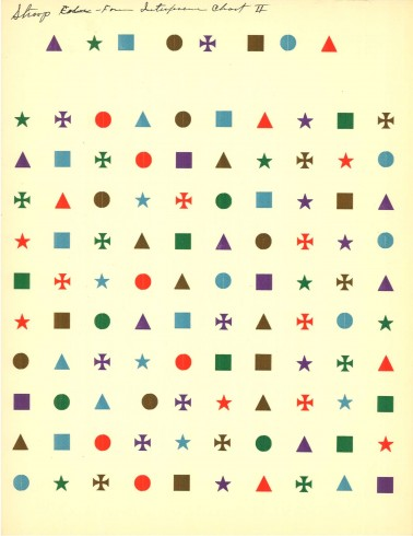 Stroop did not just use words to test his hypothesis; he also used shapes like these to see if the same interference appeared in both cases.  Printed card, John Ridley Stroop Collection, Milliken Special Collections, Abilene Christian University, Abilene, TX.