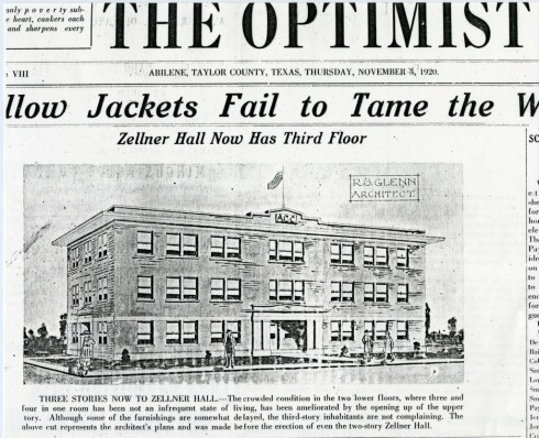 Clipping from The Optimist introducing Zellner Hall's expansion. Dated November 3, 1920.
