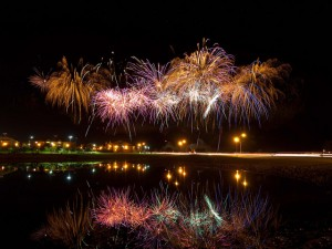 ACU fireworks over Faubus Fountain Lake with Hunter Welcome Cent