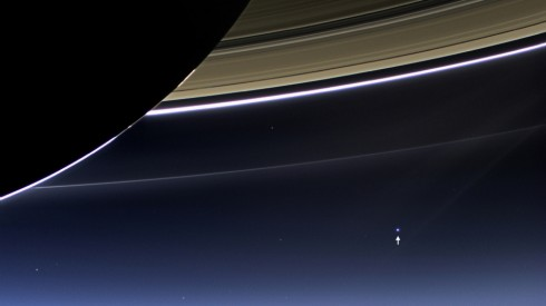 Picture of Earth through Saturn's rings from the Cassini spacecraft