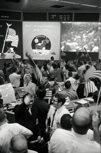 NASA Mission Control celebrates return of Apollo 11 lunar landing mission on July 24, 1969. http://www.nasa.gov/content/mission-control-celebrates-success-of-apollo-11/#.UfAPHo2siM4