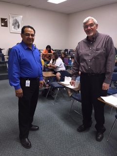 Rick Diaz and Dr. Pruett greet students in the Sociology of Aging class.