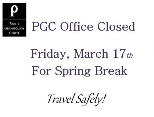PGC Closed for Spring Break