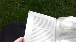 Disfrutando el sol con un libro de la biblioteca