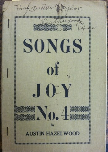 Austin Taylor signature on Songs of Joy no. 4