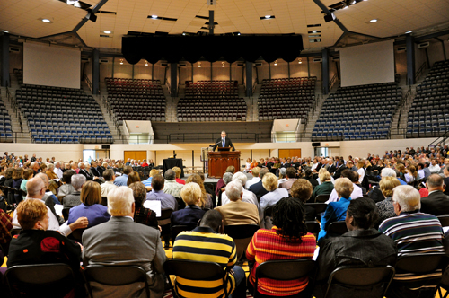 Dr. Doug Foster speaking during the Great Communion in Moody Coliseum, on Abilene Christian University's campus.