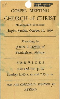 John T. Lewis gospel meeting card