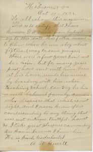 Letter of Recommendation for G.W. Varner written by Elder A.W. Garrett.