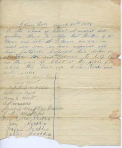 Letter of Recommendation for both G.W. Varner and A.V. Varner signed by the entire congregation.