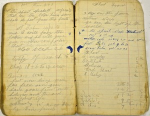 Small ledger book used by G.W. Varner as a check book and notebook for personal notes and letters of recommendation.