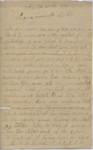 The first page of Jonas Lafayette's letter.